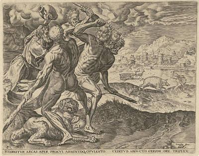 Hercules Kills Geryon And His Dog, Cornelis Cort Art Print
