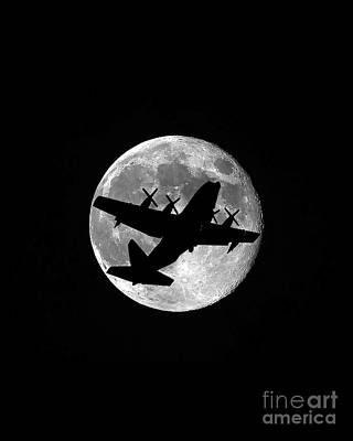 C-130 Wall Art - Photograph - Hercules Moon Vertical by Al Powell Photography USA