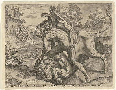 Cornucopia Drawing - Hercules Wrestles With Achelos, Cornelis Cort by Cornelis Cort And Julius Goltzius