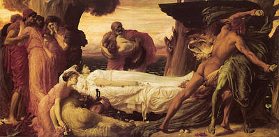 Wrestle Painting - Hercules Wrestles With Death by Frederick Leighton