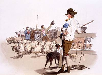 Trading Painting - Herdsmen Of Sheep And Cattle, From The by William Henry Pyne