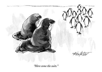 Penguin Drawing - Here Come The Suits by Mischa Richter