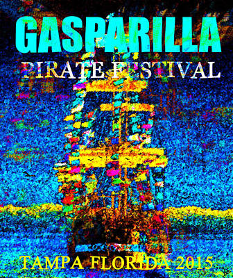 Pirate Ship Digital Art - Here Comes Gasparilla by David Lee Thompson