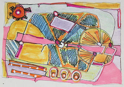Wheels On The Bus Painting - Here Comes The Bus by Hari Thomas