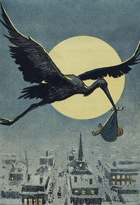 Animals Drawings - Here comes the stork circa circa 1913 by Aged Pixel