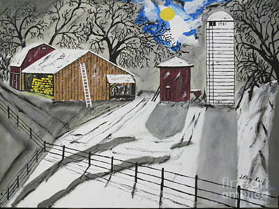 Red Barn In Winter Painting - Here Comes The Sun by Jeffrey Koss