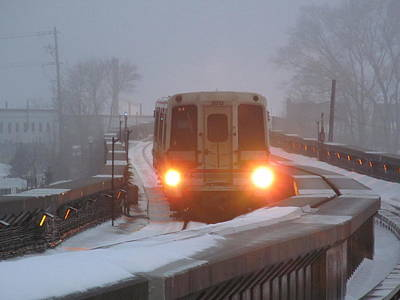 Train In The Winter Photograph - Here Comes The Train by Alfred Ng