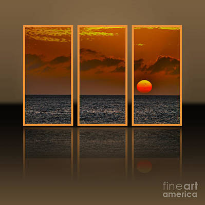 Hdr Landscape Photograph - Here Goes The Sun - Triptych by Claudia M Photography