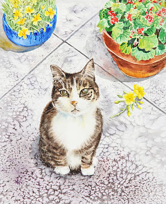 Watercolor Pet Portraits Painting - Here Kitty Kitty Kitty by Irina Sztukowski