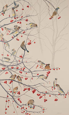 Cedar Waxing Painting - Here Today.... by Linda Koffenberger
