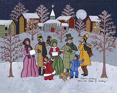 Folk Art Painting - Here We Come A Caroling by Medana Gabbard