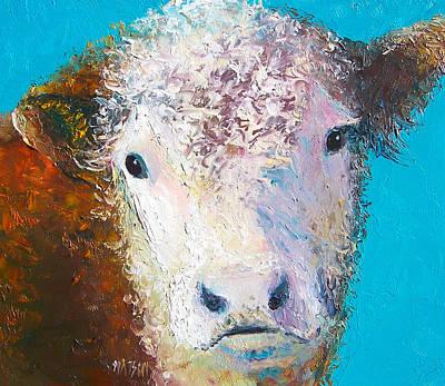 Hereford Cow Named Grace Art Print
