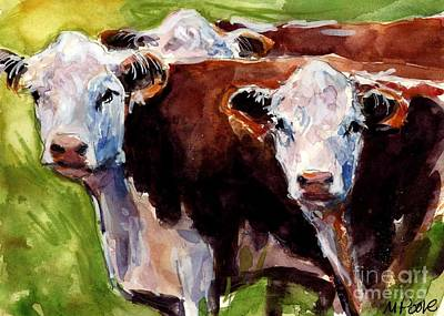 New England Farm Painting - Hereford Ears by Molly Poole
