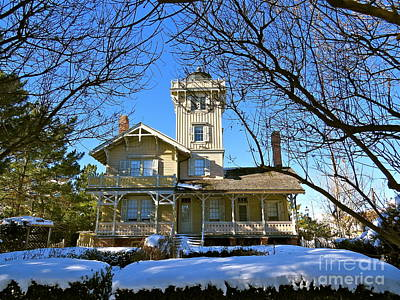 Photograph - Hereford Inlet Lighthouse In The Snow  by Nancy Patterson