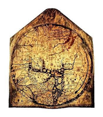 Hereford Mappa  Mundi 1285 Large Border Upsized Art Print by L Brown