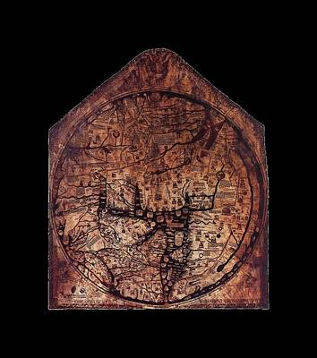 Alchemist Drawing - Hereford Mappa Mundi 1300 Medium Black Border by L Brown