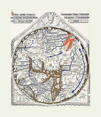 Knights Castle Mixed Media - Hereford Mappa Mundi 1300 With Detail Text Large White Border by L Brown