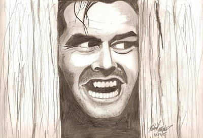 Drawing - Here's Johnny by Michael Mestas