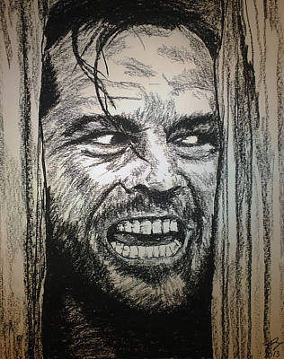 Jack Nicholson Drawing - Here's Johnny by Tim Brandt