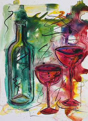 Winery Painting - Here's To Us by Wendy Provins