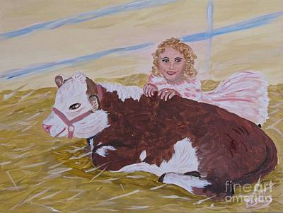 Painting - Herford Calf And Me by Phyllis Kaltenbach