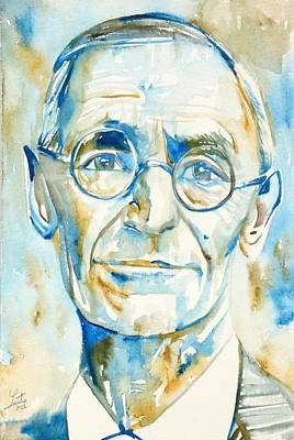 Hermann Hesse Painting - Hermann Hesse Watercolor Portrait.2 by Fabrizio Cassetta