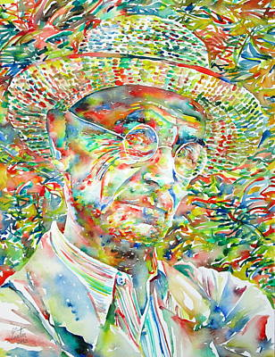 Hermann Hesse Painting - Hermann Hesse With Hat Watercolor Portrait by Fabrizio Cassetta