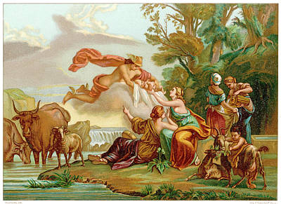 Hermes Wall Art - Drawing - Hermes Carries The Infant  Zeus by Mary Evans Picture Library