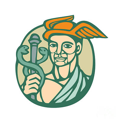 Hermes Holding Cadaceus Woodcut Linocut Art Print by Aloysius Patrimonio