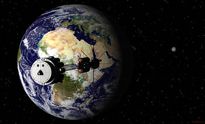 Digital Art - Hermes1 Leaving Earth Part 1 by David Robinson