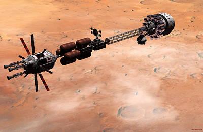 Digital Art - Hermes1 Over Mars by David Robinson