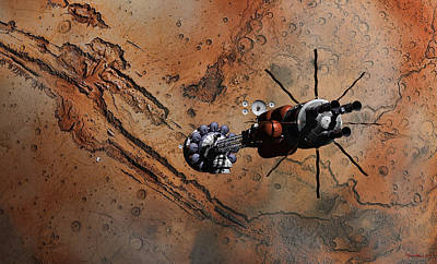 Digital Art - Hermes1 With The Mars Lander Ares1 In Sight by David Robinson