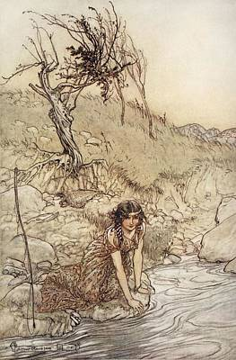 River Scenes Drawing - Hermia, Illustration From Midsummer by Arthur Rackham