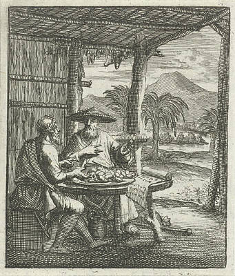 Hermit And His Visitor Sitting In An Open Hut At The Table Art Print
