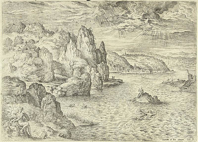 Winter Storm Drawing - Hero And Leander, Hieronymus Cock, Matthys Cock by Hieronymus Cock And Matthys Cock