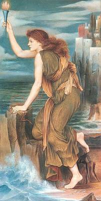 Leander Digital Art - Hero Awaiting The Return Of Leander by Evelyn de Morgan
