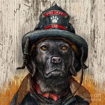 Retrievers Mixed Media - Hero Lab - Black by Kathleen Harte Gilsenan