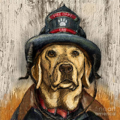 Retrievers Mixed Media - Hero Lab - Yellow by Kathleen Harte Gilsenan