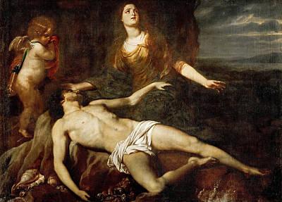 Leander Painting - Hero Mourns The Dead Leander by Jan van den Hoecke