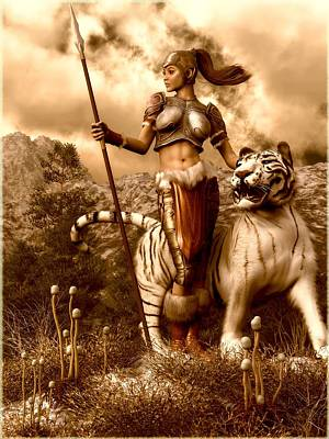 Digital Art - Heroic Amazon And White Tiger by Kaylee Mason