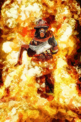 Saving Painting - Heroic Firefighter by Christopher Lane