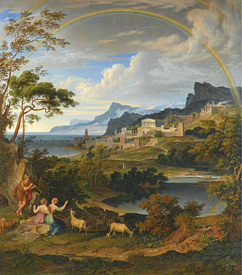 Mountain Goat Art Painting - Heroic Landscape With Rainbow by Joseph Anton Koch