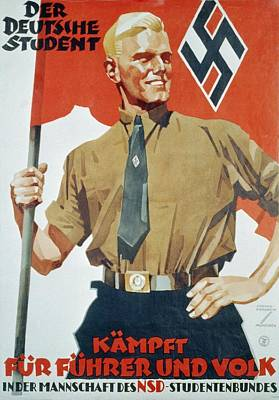 Heroic Portrait Of Hitler Youth Print by Everett