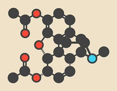Heroin Photograph - Heroin Molecule by Molekuul