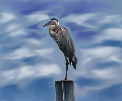Heron 1 Art Print by Karen Sheltrown