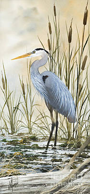 Blue Heron Painting - Heron And Cattails by James Williamson