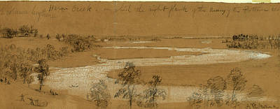 Herons Drawing - Heron Creek On Which The Right Flank Of The Army by Quint Lox