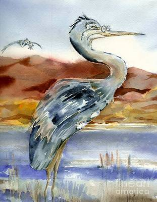 Painting - Heron From A Bird's Eye View by Donna Acheson-Juillet