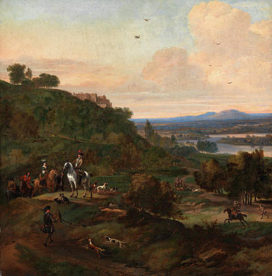 Wyck Painting - Heron Hawking Below Stirling Castle Hawking Scene Signed by Litz Collection