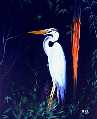Painting - Heron In Bamboo by Maria Mills